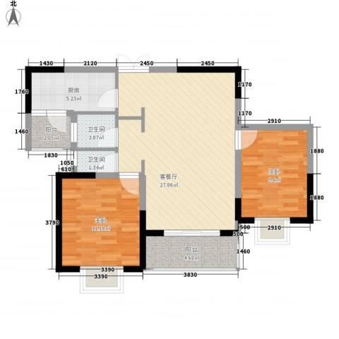 鹏欣一品漫城二期2室1厅2卫1厨94.00㎡户型图