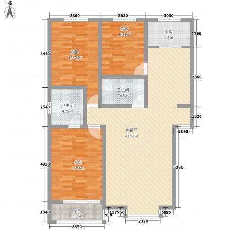 山青海蓝3室1厅2卫1厨141.00㎡户型图