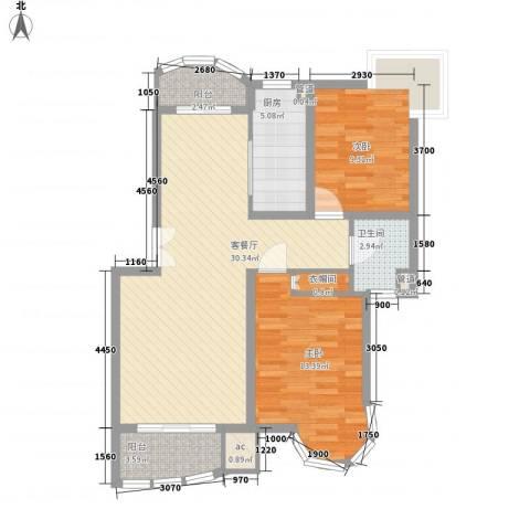 翡翠上南别墅2室1厅1卫1厨100.00㎡户型图