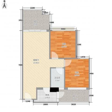 活力康城2室1厅1卫1厨82.00㎡户型图