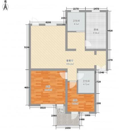 华佳花园2室1厅2卫1厨114.00㎡户型图