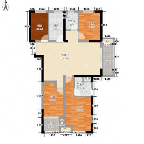 民生・瞰江郡4室1厅2卫1厨123.00㎡户型图