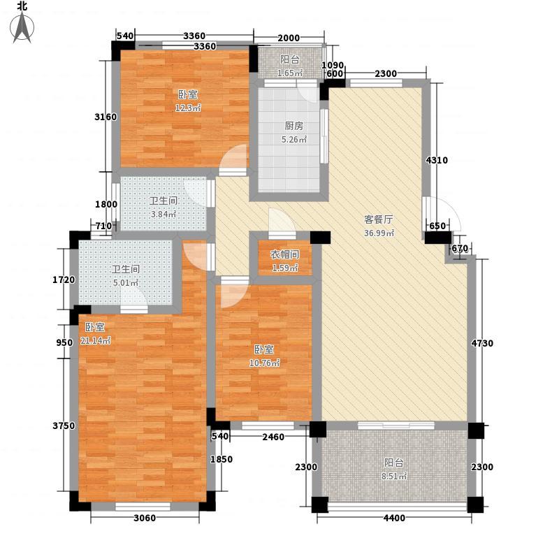 龙城懿品129.70㎡J户型3室2厅2卫1厨