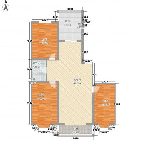 武功山小区3室1厅1卫1厨155.00㎡户型图