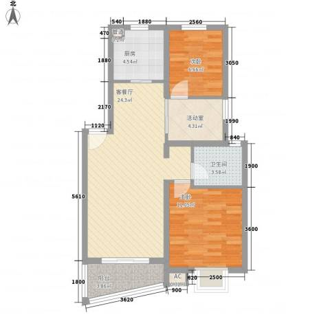 万兆家园莱茵清境2室1厅1卫1厨85.00㎡户型图