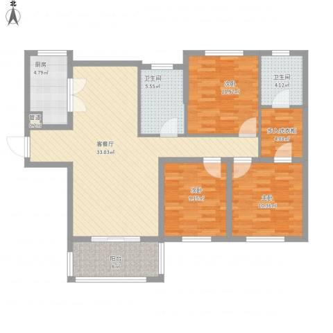 统建天成美雅3室1厅2卫1厨127.00㎡户型图