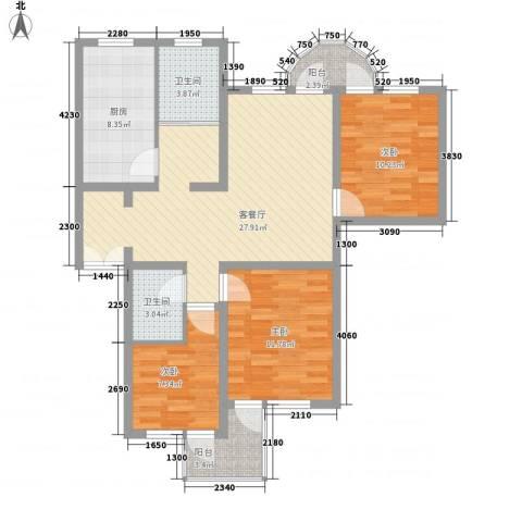 华佳花园3室1厅2卫1厨113.00㎡户型图