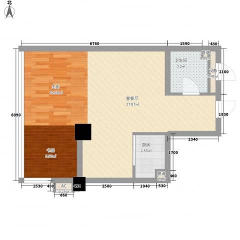 曙光大厦1厅1卫1厨50.80㎡户型图