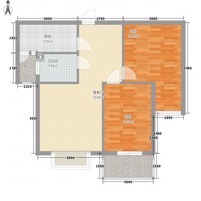 东方1+176.49㎡D型户型2室2厅1卫1厨