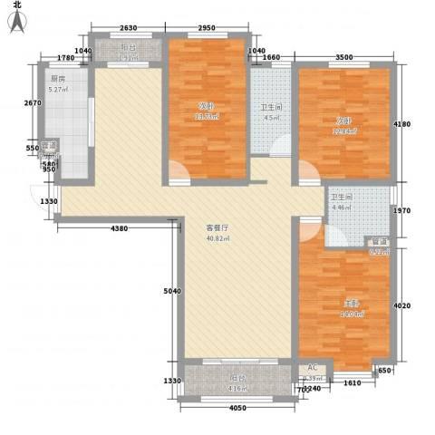新湖印象江南二期3室1厅2卫1厨148.00㎡户型图