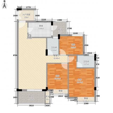 新世界花园3室1厅2卫1厨109.00㎡户型图