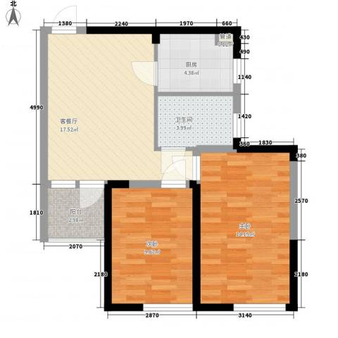 建业时光原著2室1厅1卫1厨76.00㎡户型图