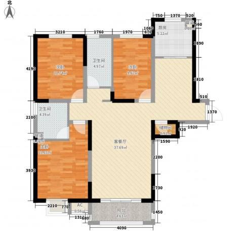新湖印象江南二期3室1厅2卫1厨135.00㎡户型图