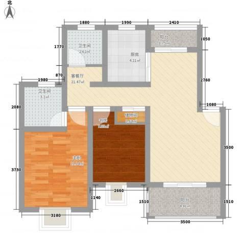 小富人家(奉贤)2室1厅2卫1厨85.00㎡户型图