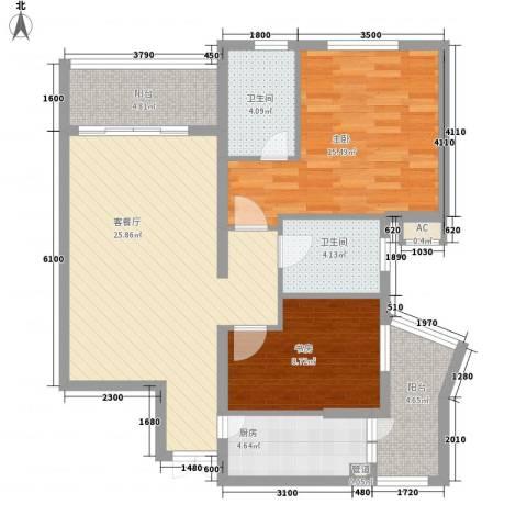 盛世华南2室1厅2卫1厨72.84㎡户型图