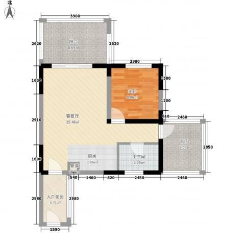 博鳌椰风海岸1室1厅1卫0厨58.00㎡户型图