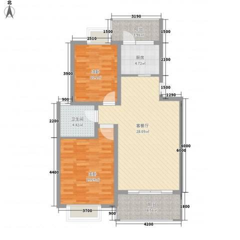 顺驰滨江奥城2室1厅1卫1厨87.00㎡户型图