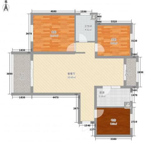 诚德盛世原著3室1厅1卫1厨117.00㎡户型图
