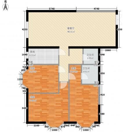 百环硅谷香林3室1厅2卫1厨151.00㎡户型图