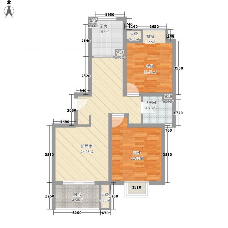 绿地公园7号户型图F1户型 2室2厅1卫
