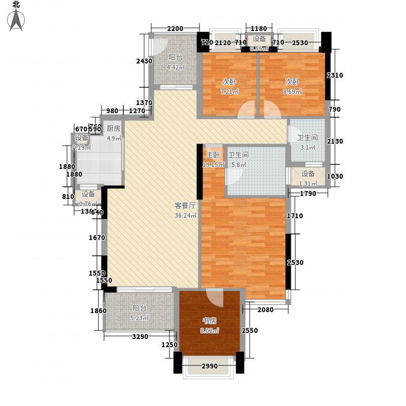 东郡146.09㎡东郡户型图三期鼎苑21#C4室2厅2卫1厨户型4室2厅2卫1厨