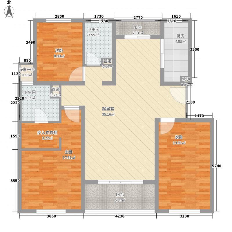 满庭春MOMA11.10㎡一期15#、16#楼标准层D1户型3室2厅2卫