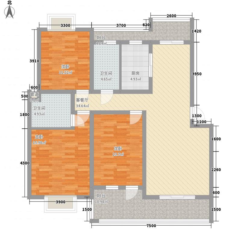 越亚・天赐碧园126.60㎡D3户型3室2厅2卫1厨
