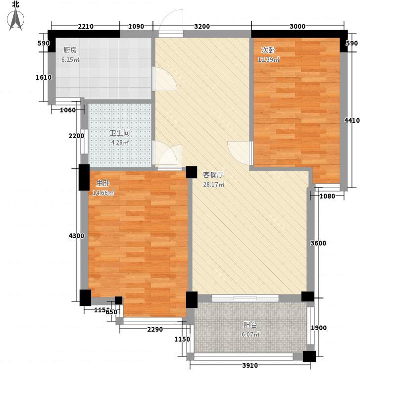 东方豪庭83.00㎡1期6#7#d户型2室2厅1卫1厨