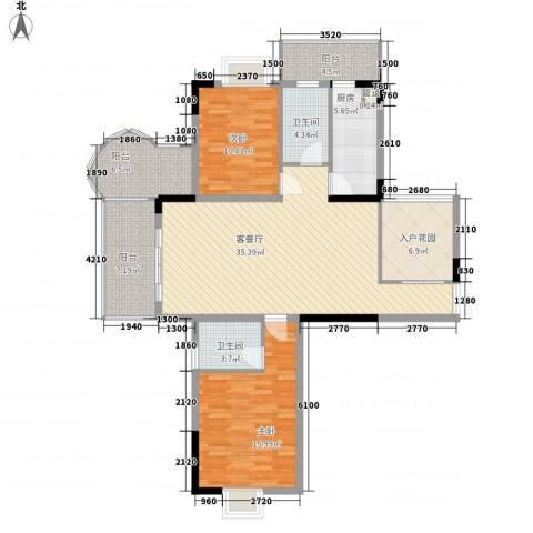 红海名仕公馆2室1厅2卫1厨114.00㎡户型图