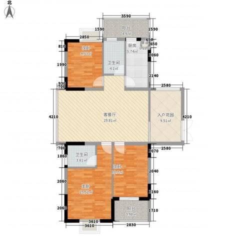 红海名仕公馆3室1厅2卫1厨124.00㎡户型图