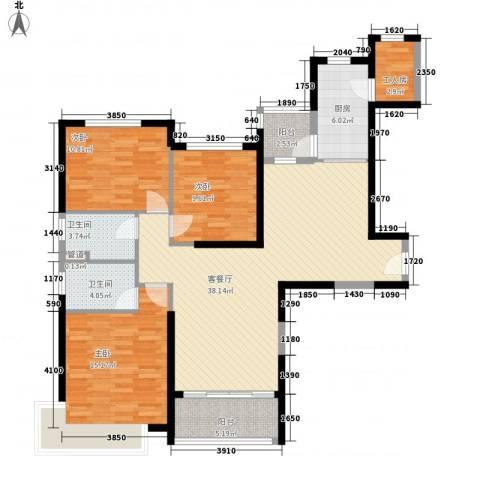 新余恒大城3室1厅2卫1厨141.00㎡户型图