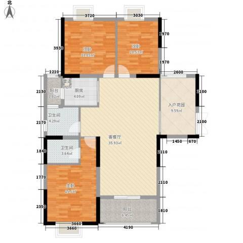 红海名仕公馆3室1厅2卫1厨131.00㎡户型图