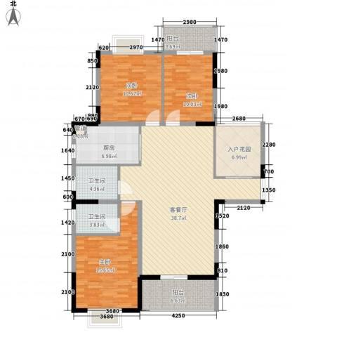 红海名仕公馆3室1厅2卫1厨132.00㎡户型图