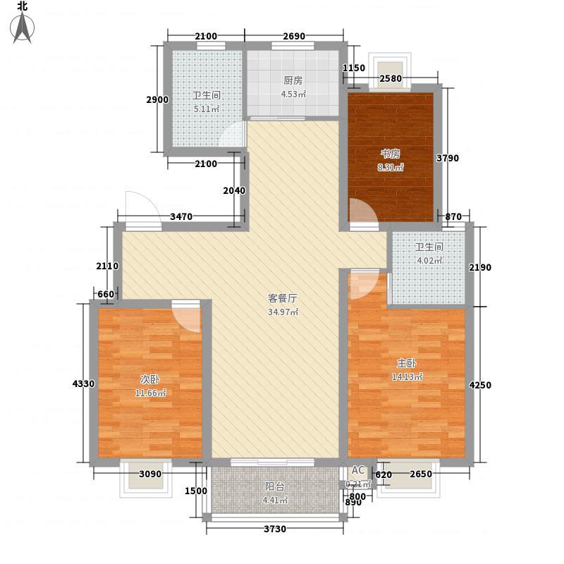 华兴瑞都国际125.00㎡一期5号楼标准层E户型3室2厅1卫1厨