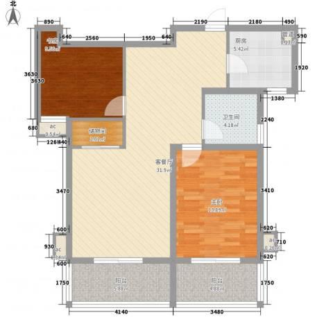 @时代爱特大厦2室1厅1卫1厨91.00㎡户型图