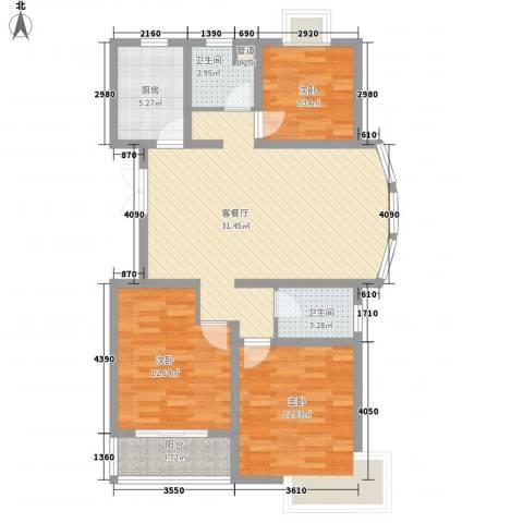 怡和花园3室1厅2卫1厨115.00㎡户型图