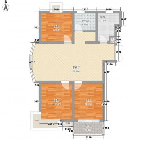 怡和花园3室1厅1卫1厨110.00㎡户型图