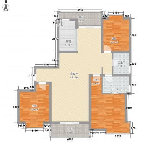 御水豪庭3室1厅2卫1厨154.00㎡户型图