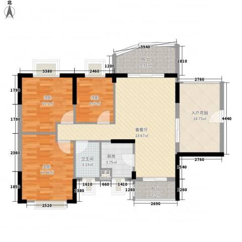 绿海名居3室1厅1卫1厨93.00㎡户型图