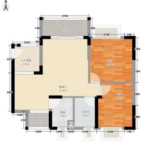 绿海名居2室1厅1卫1厨77.00㎡户型图