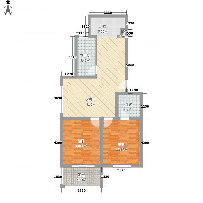 南盛家园87.33㎡6户型2室2厅2卫1厨