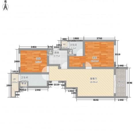新华园2室1厅2卫1厨90.00㎡户型图