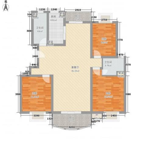 东苑古龙城3室1厅2卫1厨142.00㎡户型图