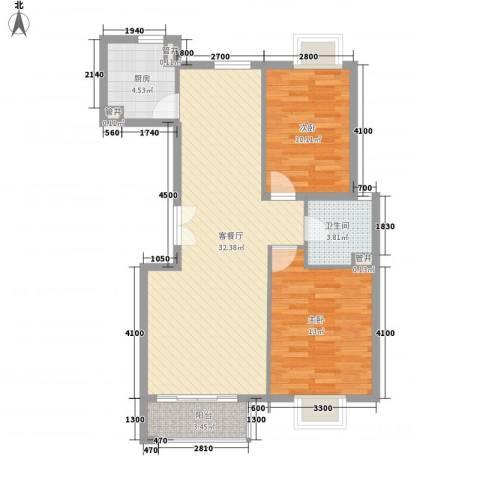 世纪星城・长城国际2室1厅1卫1厨101.00㎡户型图