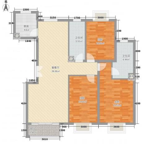 世纪星城・长城国际3室1厅2卫1厨144.00㎡户型图