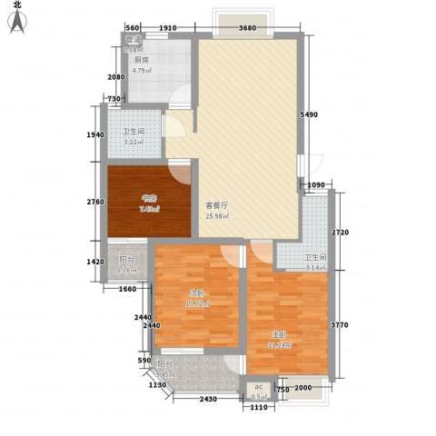 怡和花园3室1厅2卫1厨105.00㎡户型图