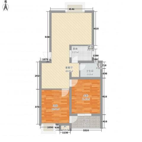 怡和花园2室1厅1卫1厨87.00㎡户型图