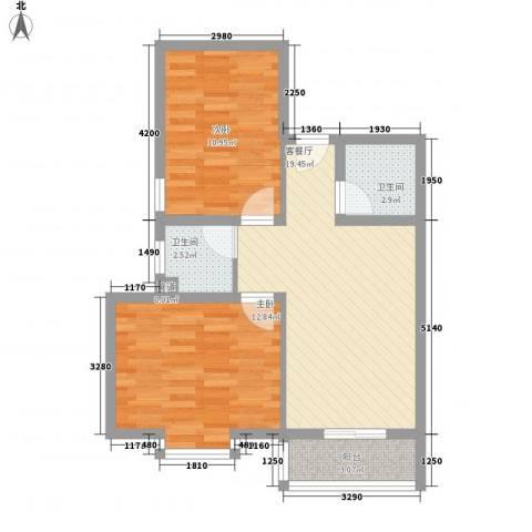 天鹅湖花园2室1厅2卫0厨75.00㎡户型图