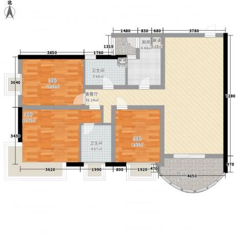 金宝怡庭3室1厅2卫1厨117.00㎡户型图