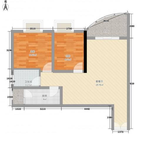 金宝怡庭2室1厅1卫1厨89.00㎡户型图
